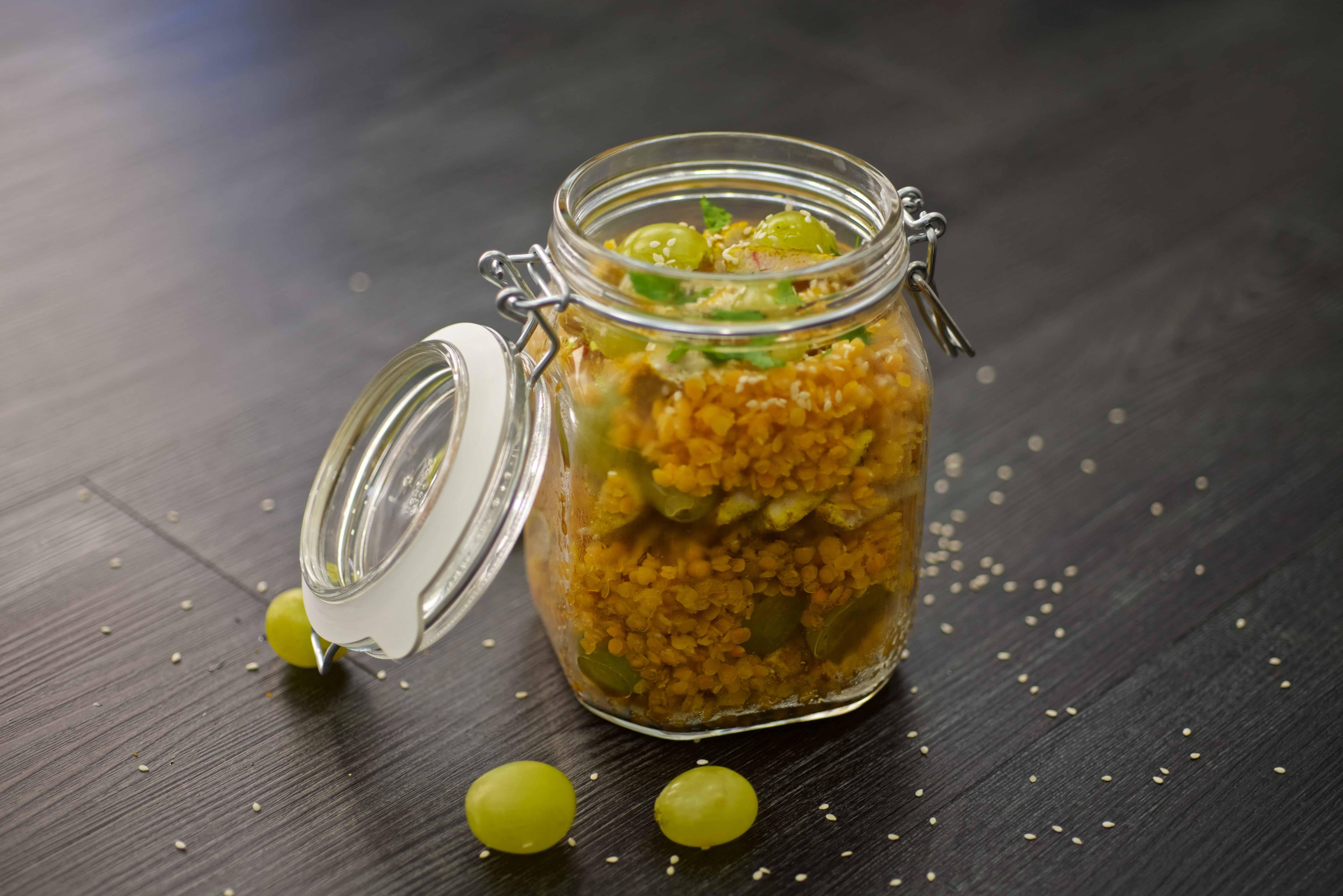 Salade de lentille au poulet en bocal